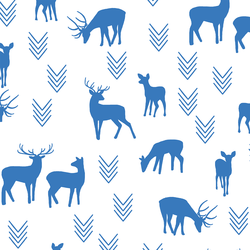 Deer Silhouette in Cerulean on White