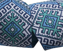 Camel Blanket in Blue and White