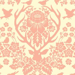 Antler Damask in Rosewater on Ivory
