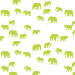 Elephant Silhouette in Lime on White