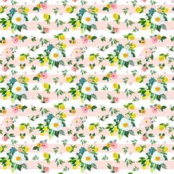 Small Lemon Blossoms in Sunrise Pink Stripes