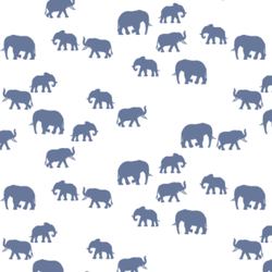 Elephant Silhouette in Azurite on White