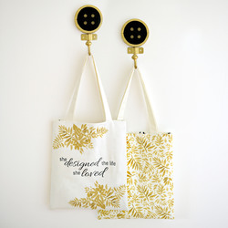 The Dreamer Tote Panel in Onyx and Gold