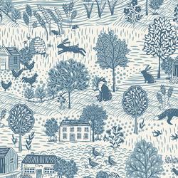Grove Scenic in Blue on Cream