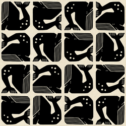 Grumpy Whale in Black Unbleached
