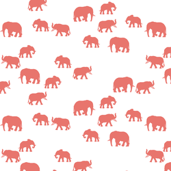 Elephant Silhouette in Living Coral on White