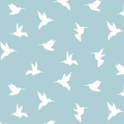 Hummingbird Silhouette in Powder Blue