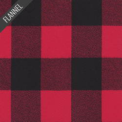 Mammoth Wide Large Two Check Flannel in Red