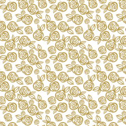 Little Tea Roses in Gold on White