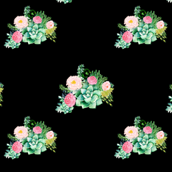 Small Floral Succulents in Black