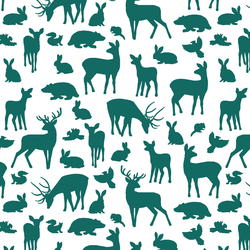 Forest Friends in Emerald on White