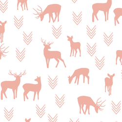 Deer Silhouette in Peony on White