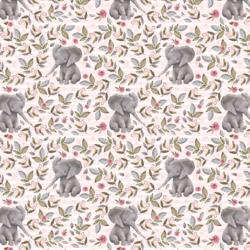 Little Floral Baby Elephant on Stripes in Soft Blush