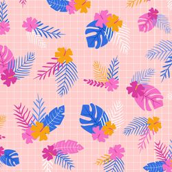 Tropical Flowers in Pink Multi