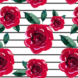 Blooming Roses on Thin Stripes in Onyx