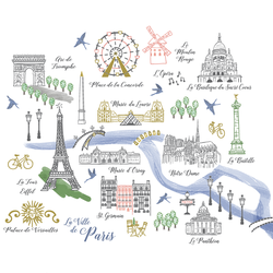 Paris Map Panel in Spring