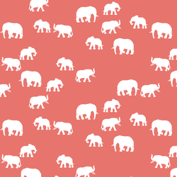 Elephant Silhouette in Living Coral