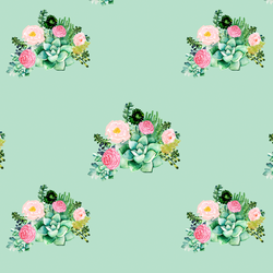 Small Floral Succulents in Mint Kiss