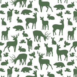 Forest Friends in Kale on White