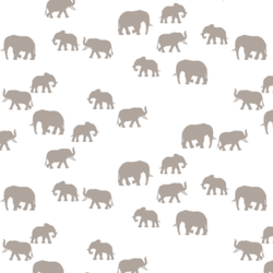 Elephant Silhouette in Taupe on White