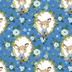 Large Floral Baby Blue Kangaroo in Bright Blue