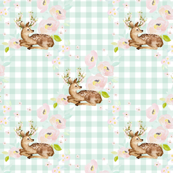 Blush Floral Deer in Light Green Gingham
