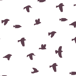 Flock Silhouette in Raisin on White