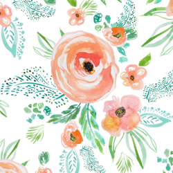 Summer Florals in Coral