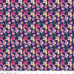 Fruitful Pleasures Flowers in Navy