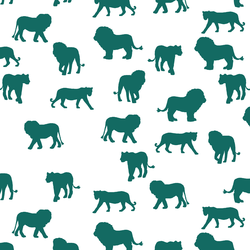 Lion Silhouette in Emerald on White