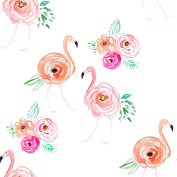 Small Floral Flock in Flamingo