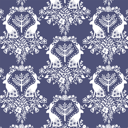 Cottontail Damask in Indigo