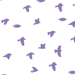Flock Silhouette in Amethyst on White