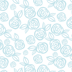 Tea Roses in Hydrangea Blue on White