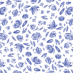 Spring Flowers in Lapis Blue on White