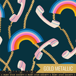 Retro Rainbows in Metallic Navy
