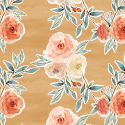 Ardent Floral in Golden Mustard Yellow Wash