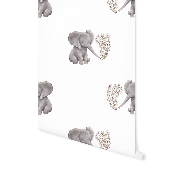 Baby Elephant In White Wallpaper By Shopcabin Hawthorne Supply Co