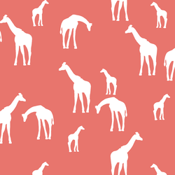 Giraffe Silhouette in Living Coral