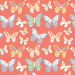 Little Butterflies in Bright Coral