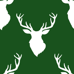 Deer Silhouette in White on Wintergreen