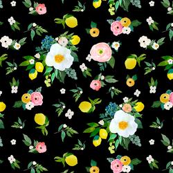 Large Lemon Blossoms in Black
