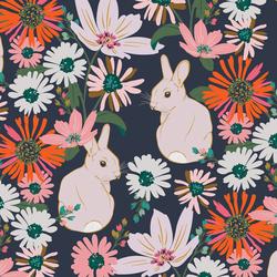 Bunny Garden in Nocturne Blue