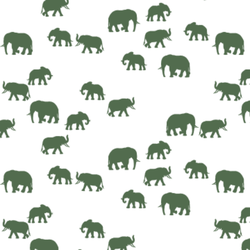 Elephant Silhouette in Kale on White