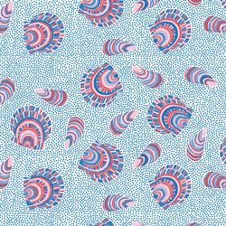 Seashells in Blue Multi