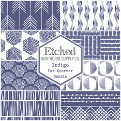 Etched Fat Quarter Bundle in Indigo