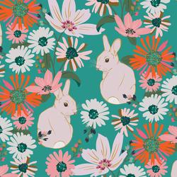 Bunny Garden in Jade Green