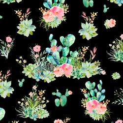 Cactus Floral in Black