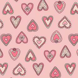 Large Vintage Hearts in Bright Rose
