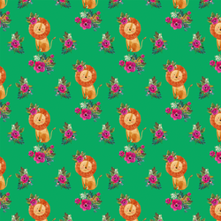 Small Floral Lion in Leafy Green